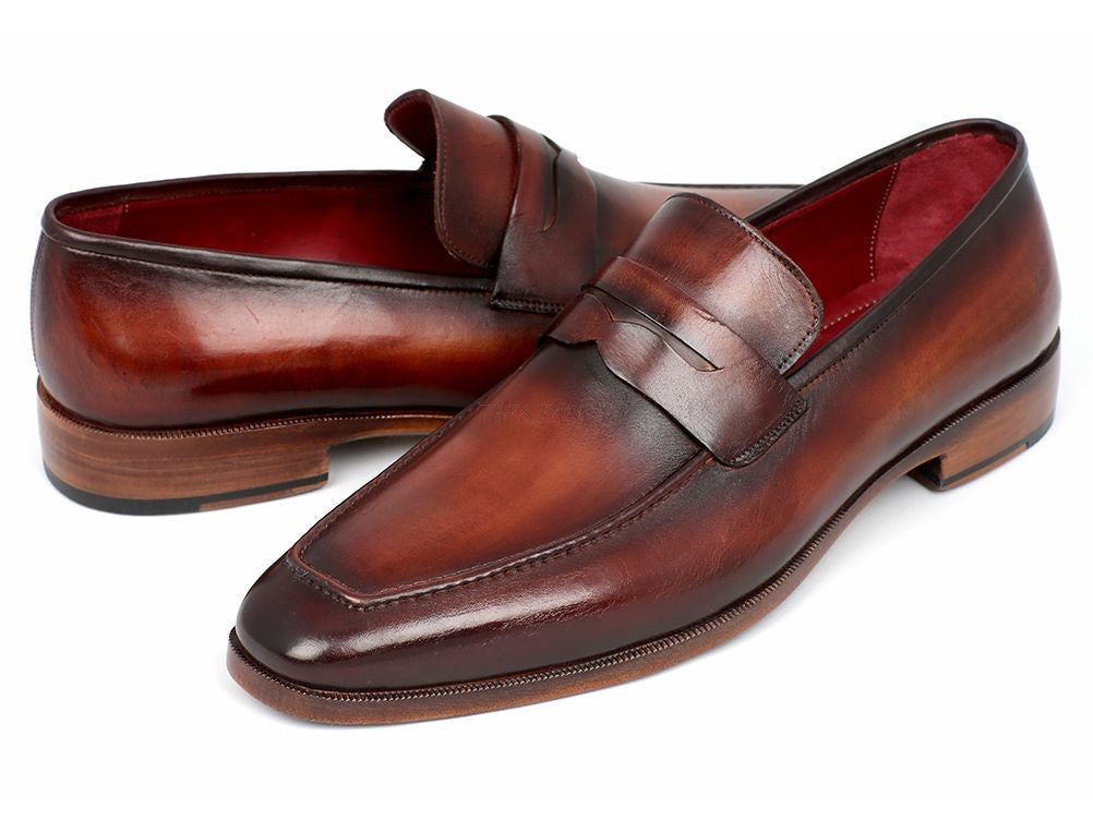 Paul Parkman Mens Penny Loafer Bordeaux and Brown Calfskin (ID#10FD61)-Men - Footwear - Shoes - Loafers-Paul Parkman's Shoes-'-Calfskin-Brown & Bordeaux-TRESFANCY