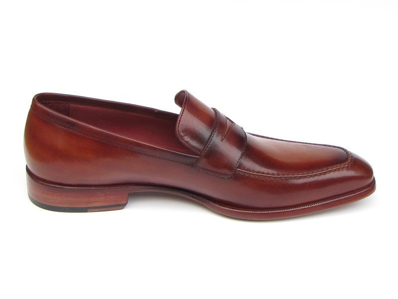 Paul Parkman Mens Penny Loafer Tobacco & Bordeaux Hand-Painted Shoes (ID#067-BRD)-Men - Footwear - Shoes - Loafers-Paul Parkman's Shoes-TRESFANCY