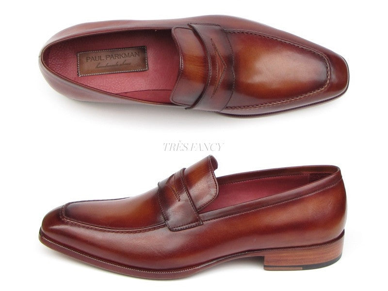 Paul Parkman Mens Penny Loafer Tobacco & Bordeaux Hand-Painted Shoes (ID#067-BRD)-Men - Footwear - Shoes - Loafers-Paul Parkman's Shoes-'-Genuine Leather-Tobacco & Bordeaux-TRESFANCY