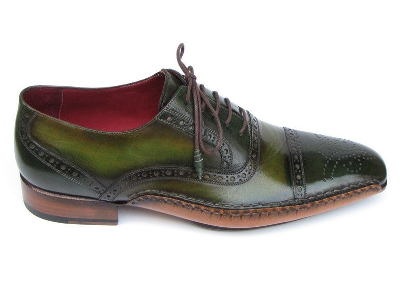 Paul Parkman Mens Side Handsewn Captoe Oxfords Green (ID#5032-GREEN)-Men - Footwear - Shoes - Oxfords-Paul Parkman's Shoes-TRESFANCY