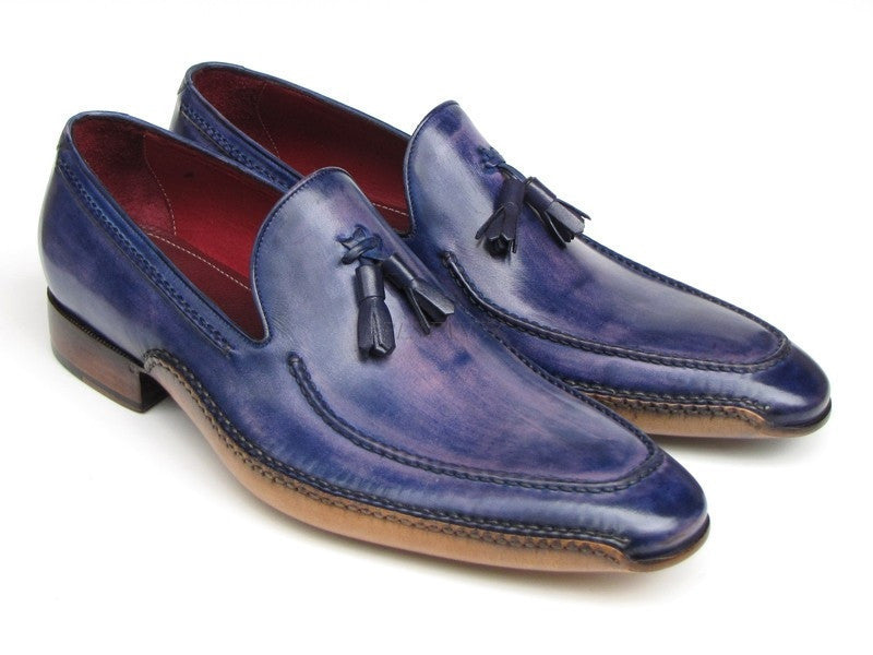 Paul Parkman Mens Side Handsewn Tassel Loafer Blue & Purple (ID#082-BLU-PURP)-Men - Footwear - Shoes - Loafers-Paul Parkman's Shoes-TRESFANCY