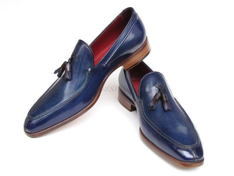 Paul Parkman Mens Tassel Loafer Blue Hand Painted Leather (ID#083-BLU)-Men - Footwear - Shoes - Loafers-Paul Parkman's Shoes-'-Genuine Leather-Navy blue-TRESFANCY