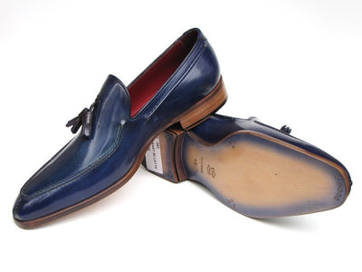 Paul Parkman Mens Tassel Loafer Blue Hand Painted Leather (ID#083-BLU)-Men - Footwear - Shoes - Loafers-Paul Parkman's Shoes-TRESFANCY