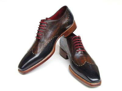 Paul Parkman Mens Wingtip Oxford Goodyear Welted Navy Red Black (ID#081-MIX)-Men - Footwear - Shoes - Oxfords-Paul Parkman's Shoes-'-Genuine Leather-Navy Red Black-TRESFANCY