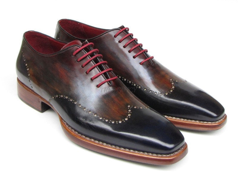 Paul Parkman Mens Wingtip Oxford Goodyear Welted Navy Red Black (ID#081-MIX)-Men - Footwear - Shoes - Oxfords-Paul Parkman's Shoes-TRESFANCY