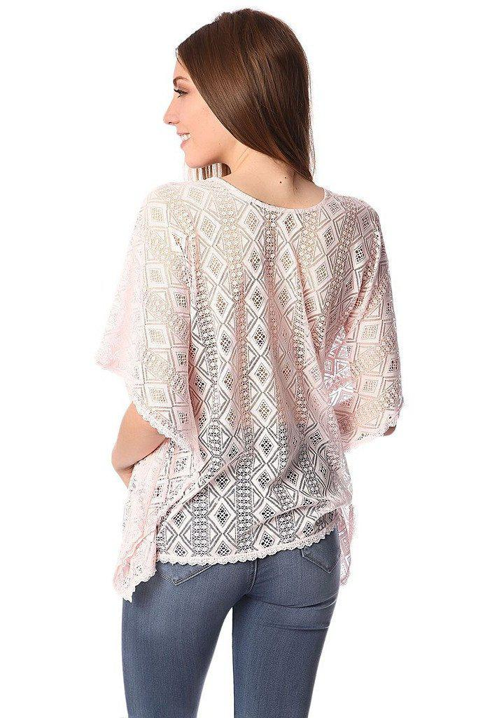 Pink kimono top in crochet with lace tie-Women - Apparel - Shirts - Blouses-Q2-S-Très Fancy