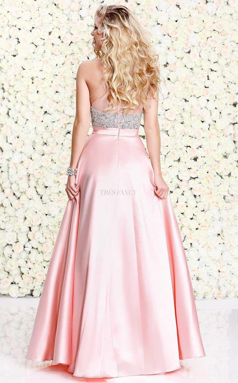 Shail K-Pink Shail K Posh party dress with halter bodice-Women - Apparel - Prom Dresses - Cocktail & Party-Très Fancy - Duty Free Canada, Worldwide shipping