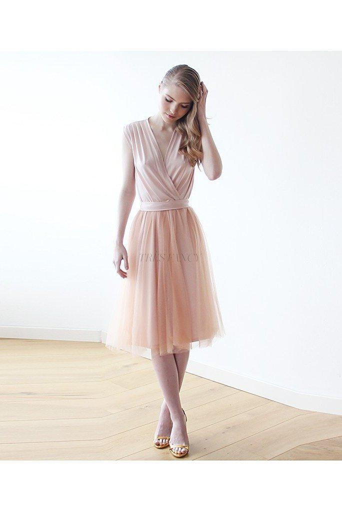 Pink Sleeveless Tulle Midi Dress 1081-Women - Apparel - Dresses - Casual-Blushfashion-TRESFANCY