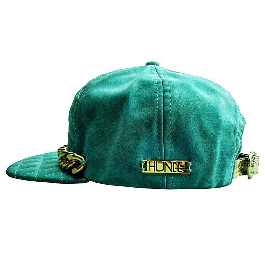 Quilted Tiffany Blue Cap with Large Gold Chain., Men - Accessories - Hats, Eye Hunee, Très Fancy, , , , , 2e21ed74, [fashion_accessories_online_shopping_canada]