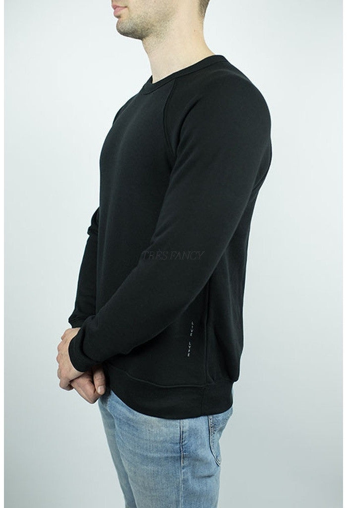 Raglan Sweater in Black-Men - Apparel - Sweaters - Crew Neck-Craft of Lyfe Clothing Inc-TRESFANCY