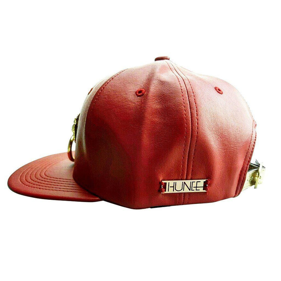 Red Faux Leather Snapback Hat, Men - Accessories - Hats, Eye Hunee, Très Fancy, , , , , a81123b1#1, [fashion_accessories_online_shopping_canada]