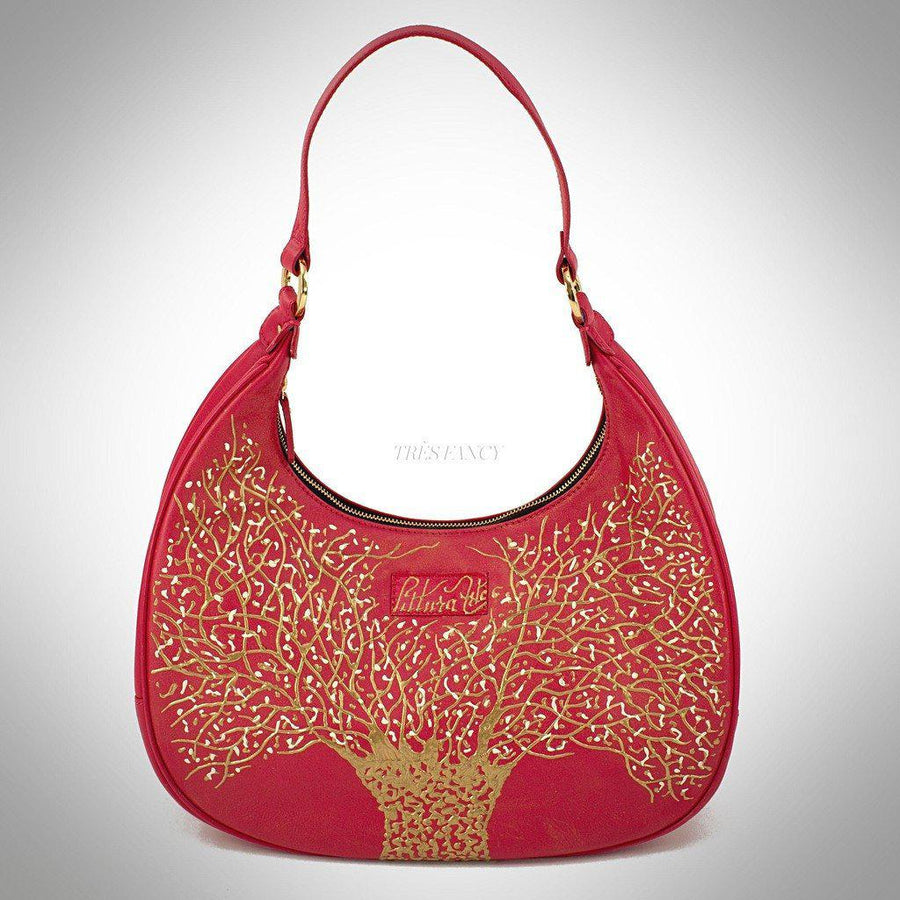 Red Golden Tree Hobo, Women - Bags - Hobos, Pittura Arte, Très Fancy, , , , , 50276c19-red,_gold,_handpainted, [fashion_accessories_online_shopping_canada]