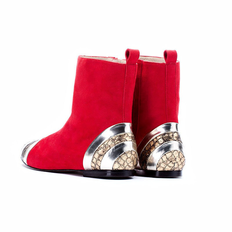 Red Taira Suede Boots, Women - Shoes - Boots, Bavaud Design, Très Fancy, EU35, , , , -#1, [fashion_accessories_online_shopping_canada]