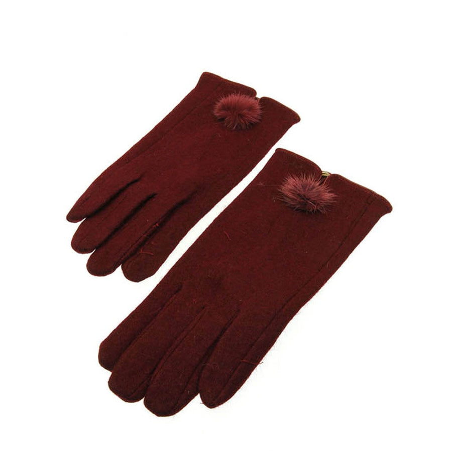 Red Wool Blend Gloves with Rabbit Fur Pom Pom Detail