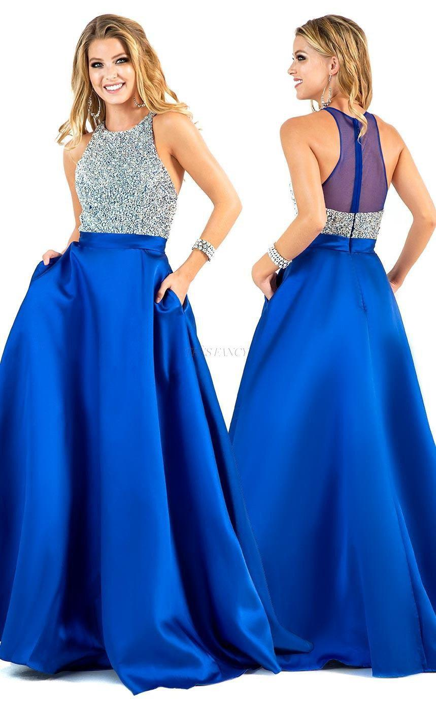 Shail K-Royal Blue Shail K Posh party dress with halter bodice-Women - Apparel - Prom Dresses - Cocktail & Party-Très Fancy - Duty Free Canada, Worldwide shipping