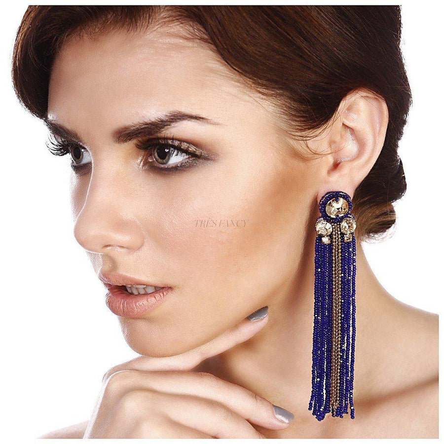 Royal blue Sheen Tasseled Earrings, Women - Jewelry - Earrings, BEGADA, Très Fancy, , , , , A 3200-, [fashion_accessories_online_shopping_canada]