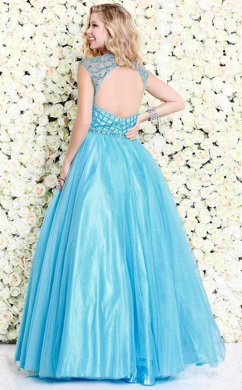 Shail K-Shail K Aqua blue Renaissance sleeveless gown-Women - Apparel - Prom Dresses - Cocktail & Party-Très Fancy - Duty Free Canada, Worldwide shipping