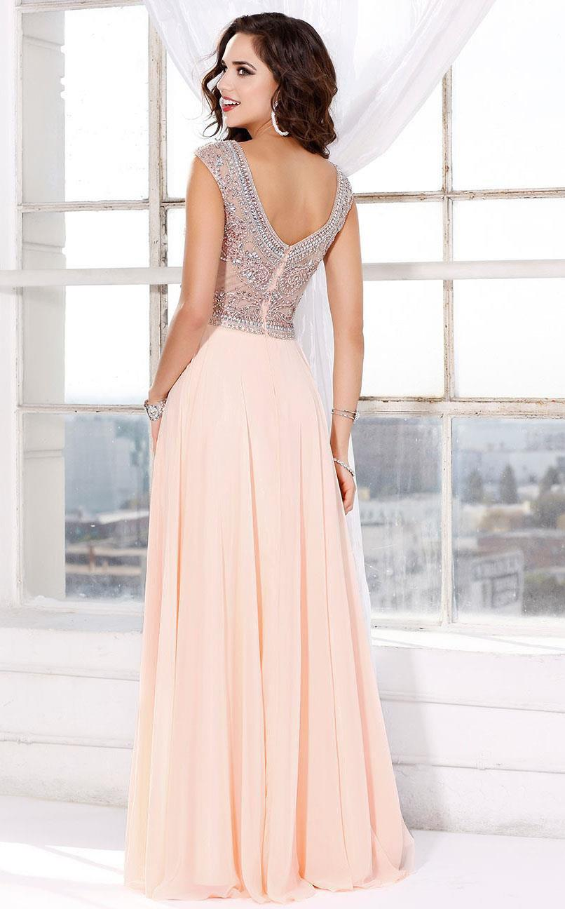 Shail K Blush Bella sleeveless gown with banded neckline