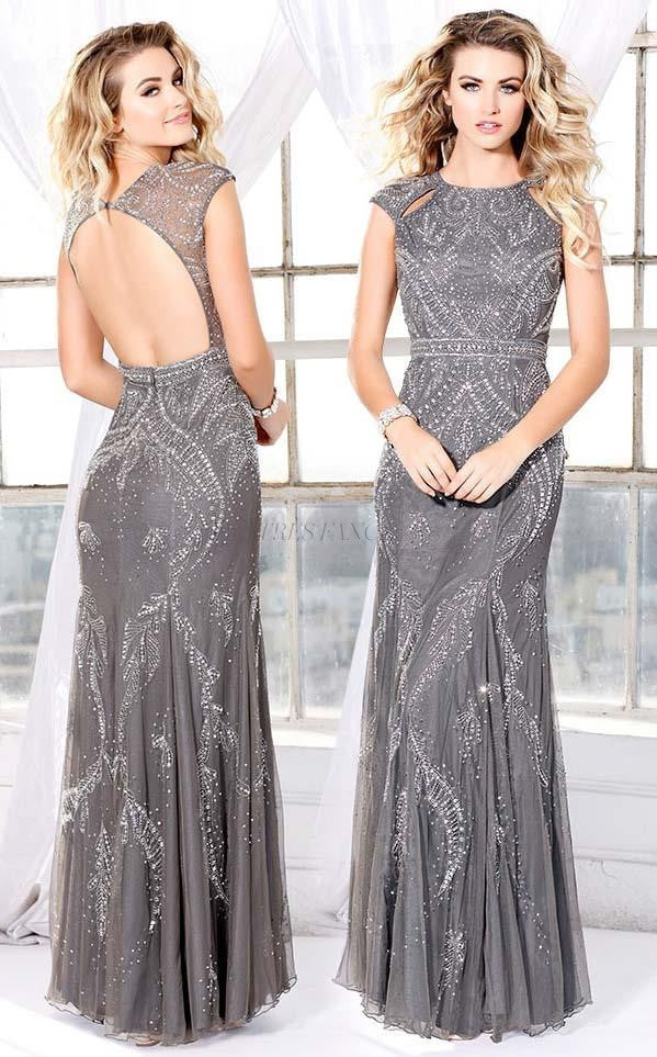 Shail K-Shail K Gray Illuminated sleeveless gown-Women - Apparel - Prom Dresses - Cocktail & Party-Très Fancy - Duty Free Canada, Worldwide shipping