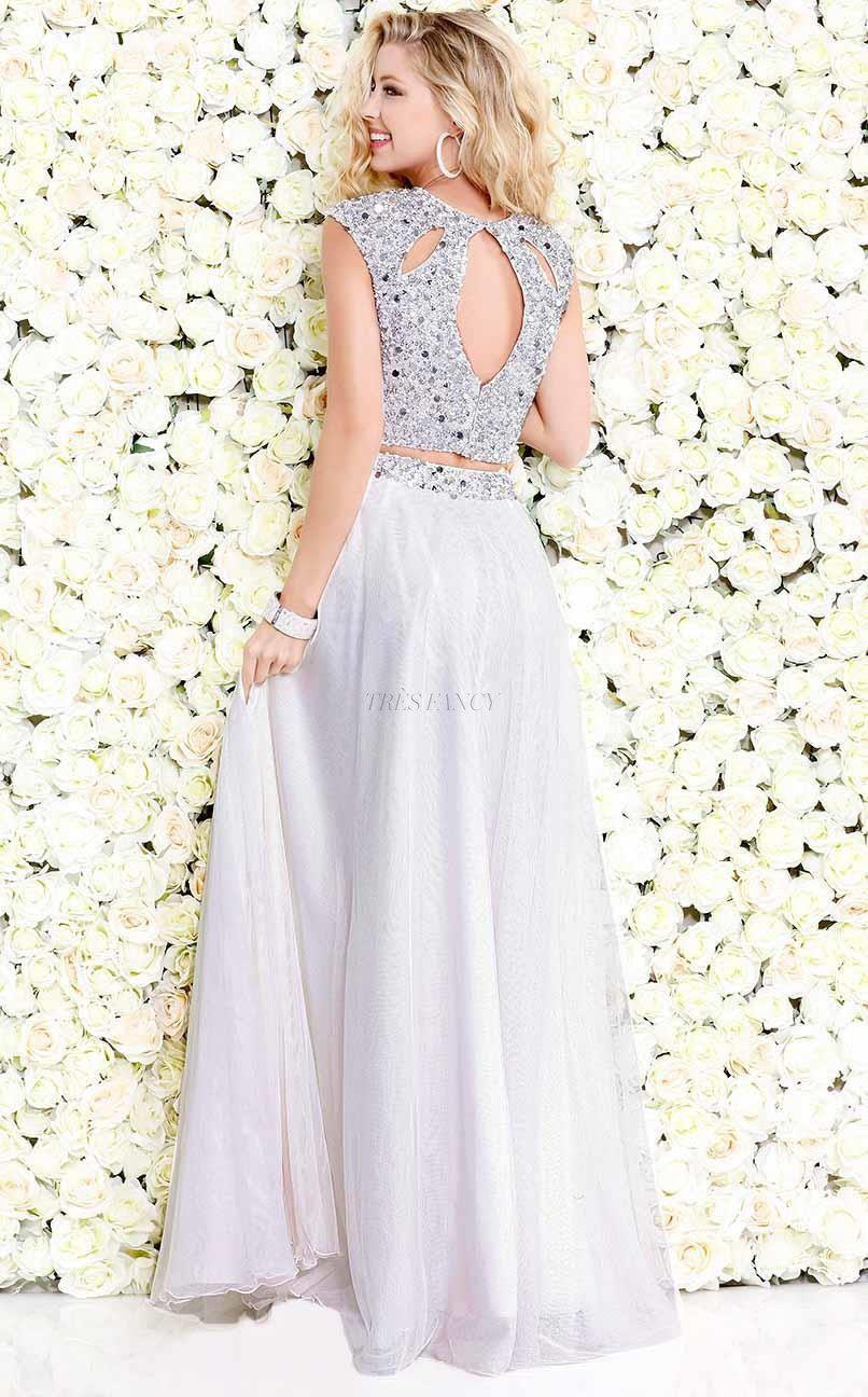 Shail K-Shail K Ivory Glam sleeveless cropped set with glitter-Women - Apparel - Prom Dresses - Cocktail & Party-Très Fancy - Duty Free Canada, Worldwide shipping