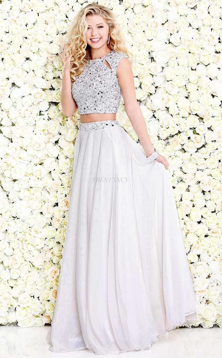 Shail K-Shail K Nude Glam sleeveless cropped set with glitter-Women - Apparel - Prom Dresses - Cocktail & Party-Très Fancy - Duty Free Canada, Worldwide shipping