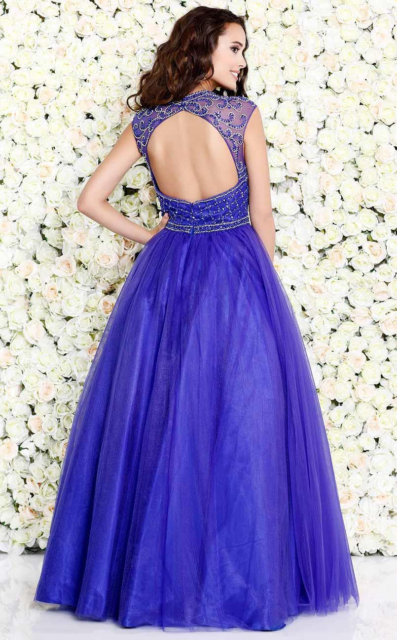 Shail K-Shail K purple blue Renaissance sleeveless gown-Women - Apparel - Prom Dresses - Cocktail & Party-Très Fancy - Duty Free Canada, Worldwide shipping