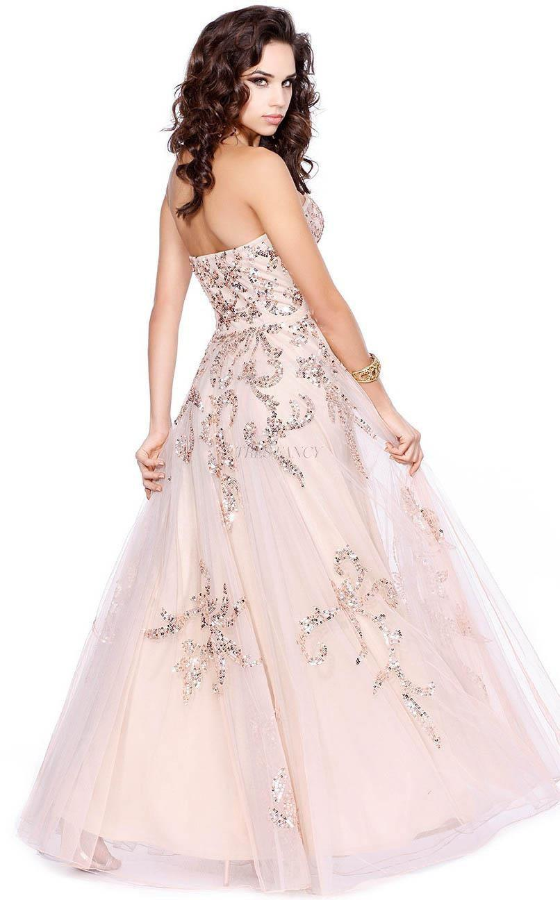Shail K Rose Diaphanous strapless evening gown