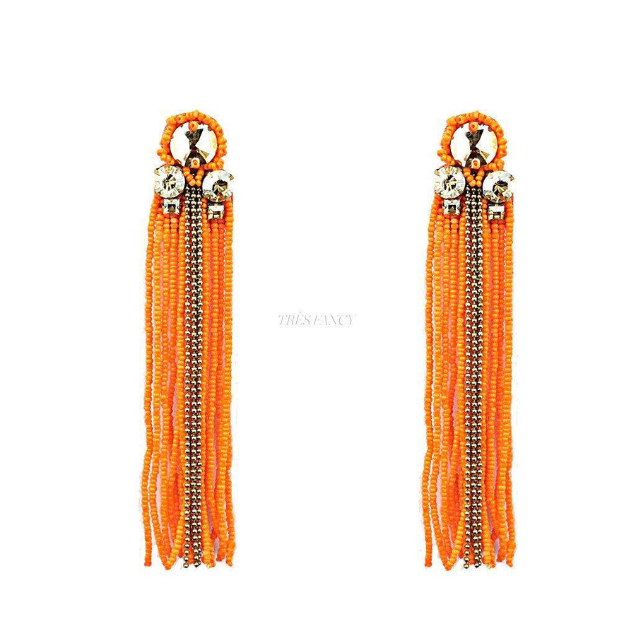 Sheen Tasseled Earrings, Women - Jewelry - Earrings, BEGADA, Très Fancy, , , , , AOR_3200-ORANGE, [fashion_accessories_online_shopping_canada]