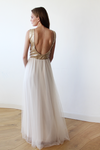 Sleeveless Gold Sequins Maxi Tulle Dress with Open-Back 1099-Women - Apparel - Bridal-Blushfashion-TRESFANCY