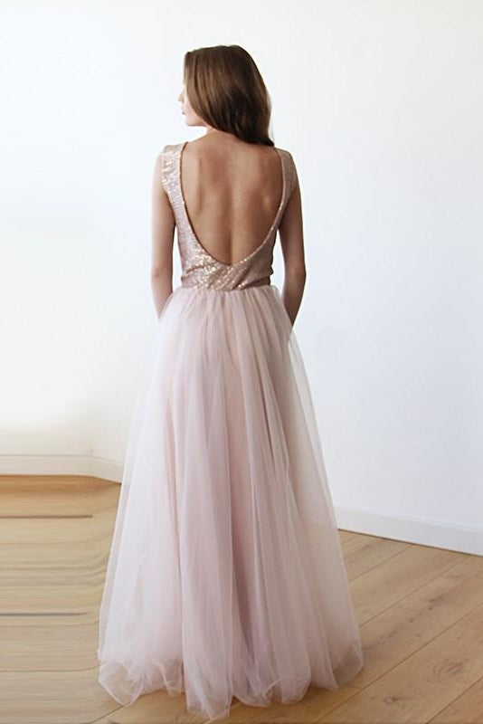 Sleeveless Pink Sequins Tulle Maxi Dress with Open-Back 1099-Women - Apparel - Dresses - BridesMaids-Blushfashion-TRESFANCY
