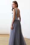 Sleeveless Silver and Grey Sequins Maxi Tulle Dress with Open-Back 1099-Women - Apparel - Bridal-Blushfashion-TRESFANCY