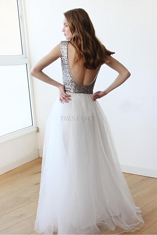 Sleeveless Silver Sequins Maxi Tulle Dress with Open-Back-Women - Apparel - Bridal-Blushfashion-TRESFANCY