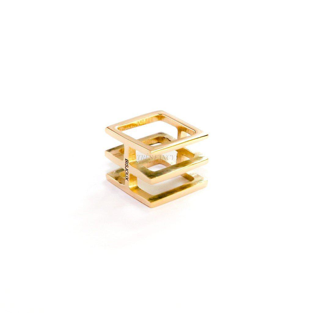 Squared SOLID BRASS ring-Women - Jewelry - Rings-BISJOUX-TRESFANCY