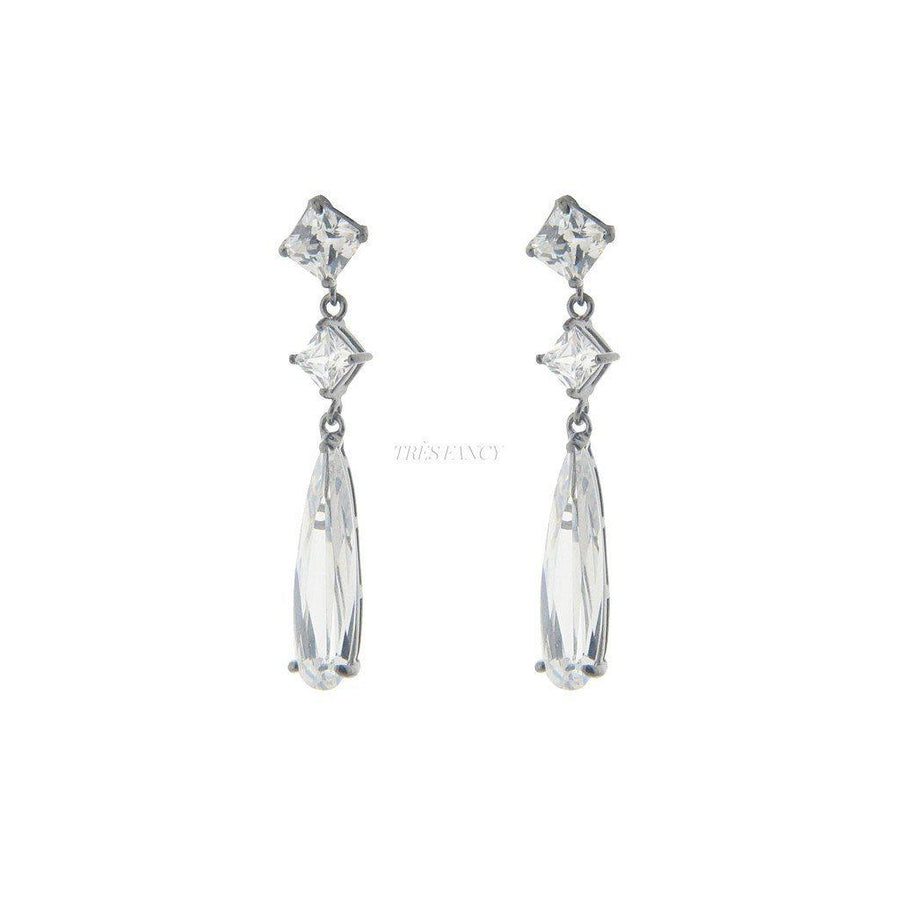 Fronay Collection-Sterling Silver Bridal Baguette Earrings, 1.5-Women - Jewelry - Earrings-Très Fancy - Duty Free Canada, Worldwide shipping