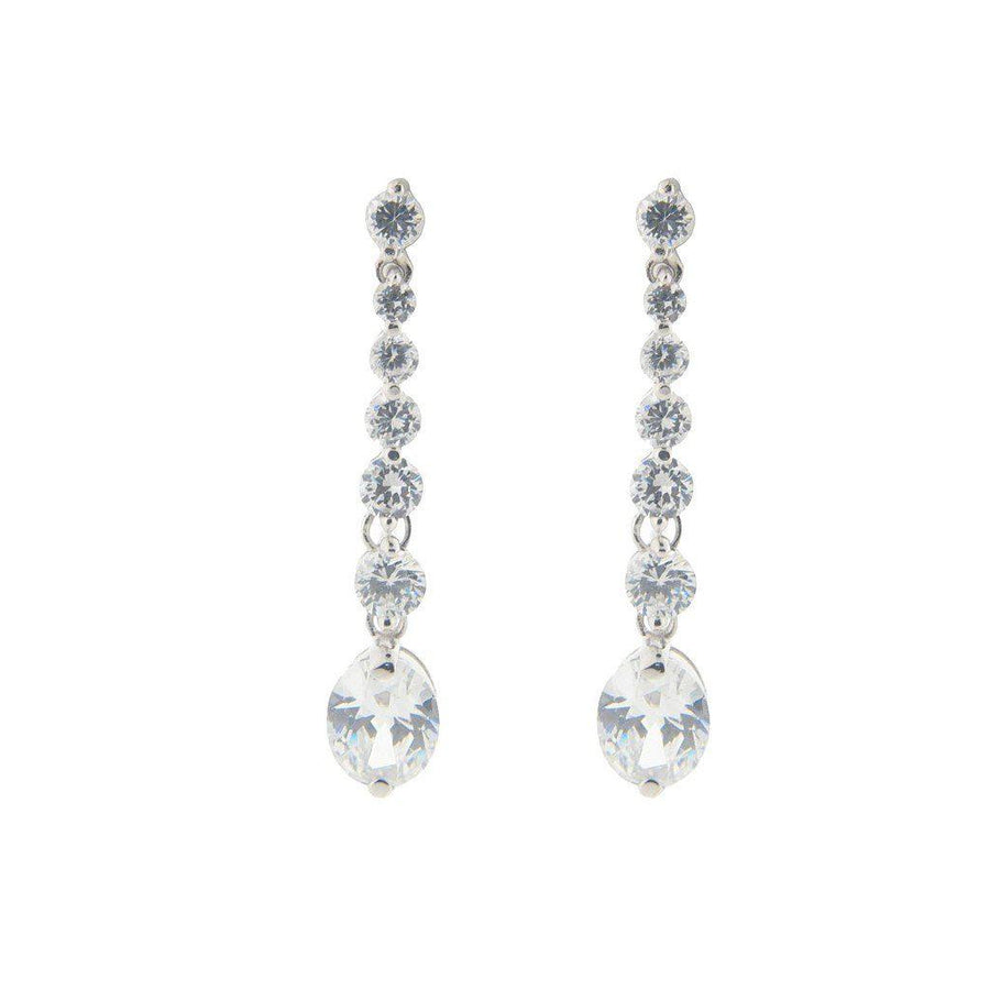 "Fronay Collection-Sterling Silver Cz Sultry Stone Earrings, 1.75""-Women - Jewelry - Earrings-Très Fancy - Duty Free Canada, Worldwide shipping"