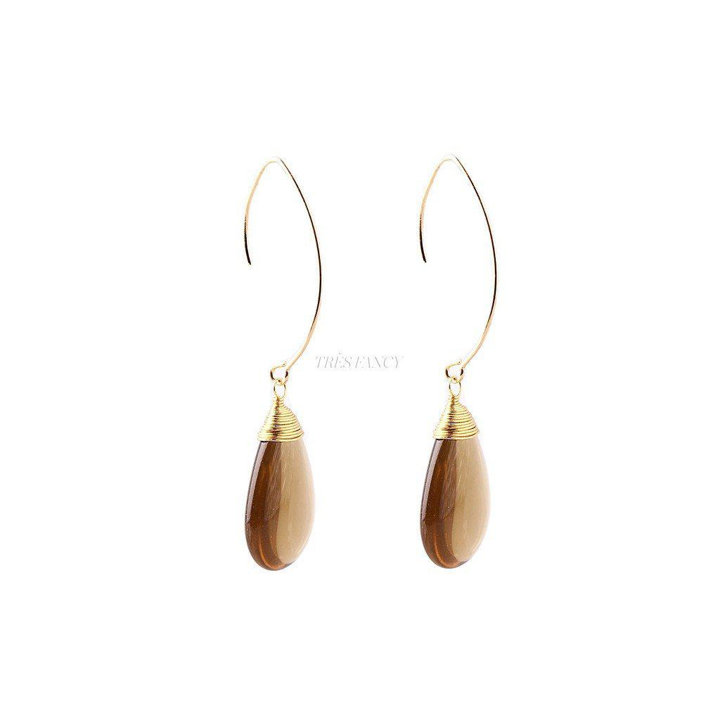 Tea Colour Glass Stone Earrings 14K Gold Plated-Women - Jewelry - Earrings-Gosia Orlowska Designs-TRESFANCY