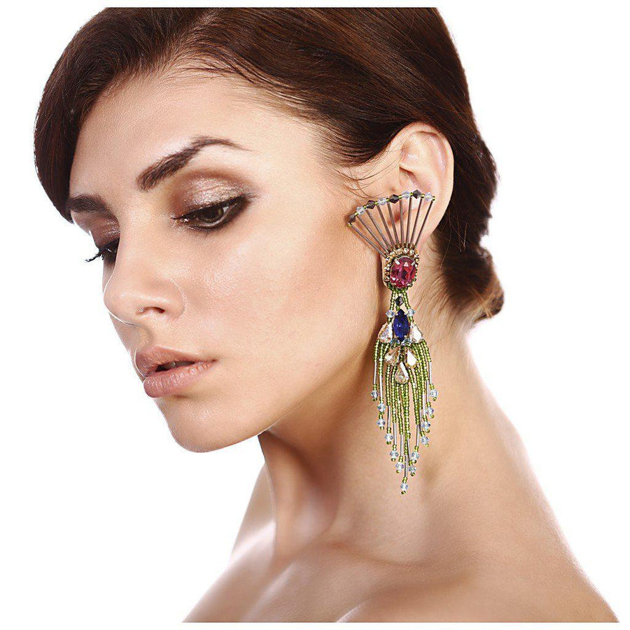 THE DANCING PEACOCK EARRINGS., Women - Jewelry - Earrings, BEGADA, Très Fancy, , , , , A 3500, [fashion_accessories_online_shopping_canada]