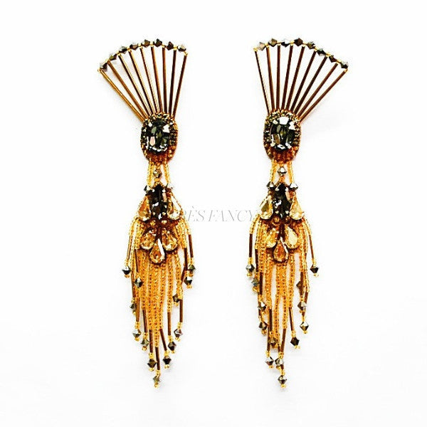 THE DANCING PEACOCK EARRINGS., Women - Jewelry - Earrings, BEGADA, Très Fancy, , , , , AMD_3500-Antique_Gold, [fashion_accessories_online_shopping_canada]