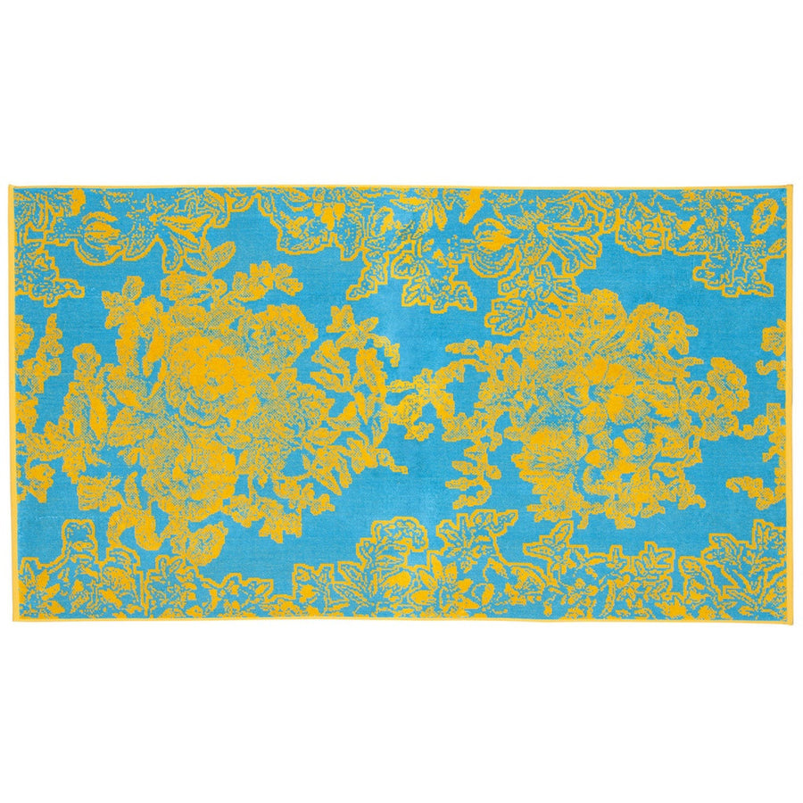 Turquoise Ancient Flowers Beach Towel