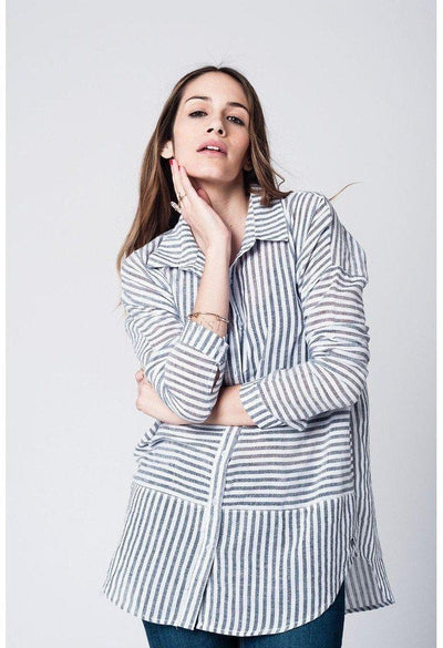 White hi lo shirt with black vertical stripes-Women - Apparel - Shirts - Blouses-Q2-S-Très Fancy