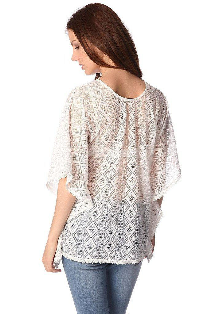 White kimono top in crochet with lace tie-Women - Apparel - Shirts - Blouses-Q2-S-Très Fancy