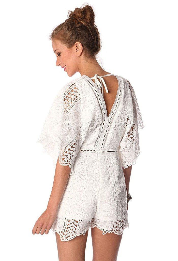 White lace romper with kimono sleeve-Women - Apparel - Dresses - Day to Night-Q2 Store-S-Très Fancy