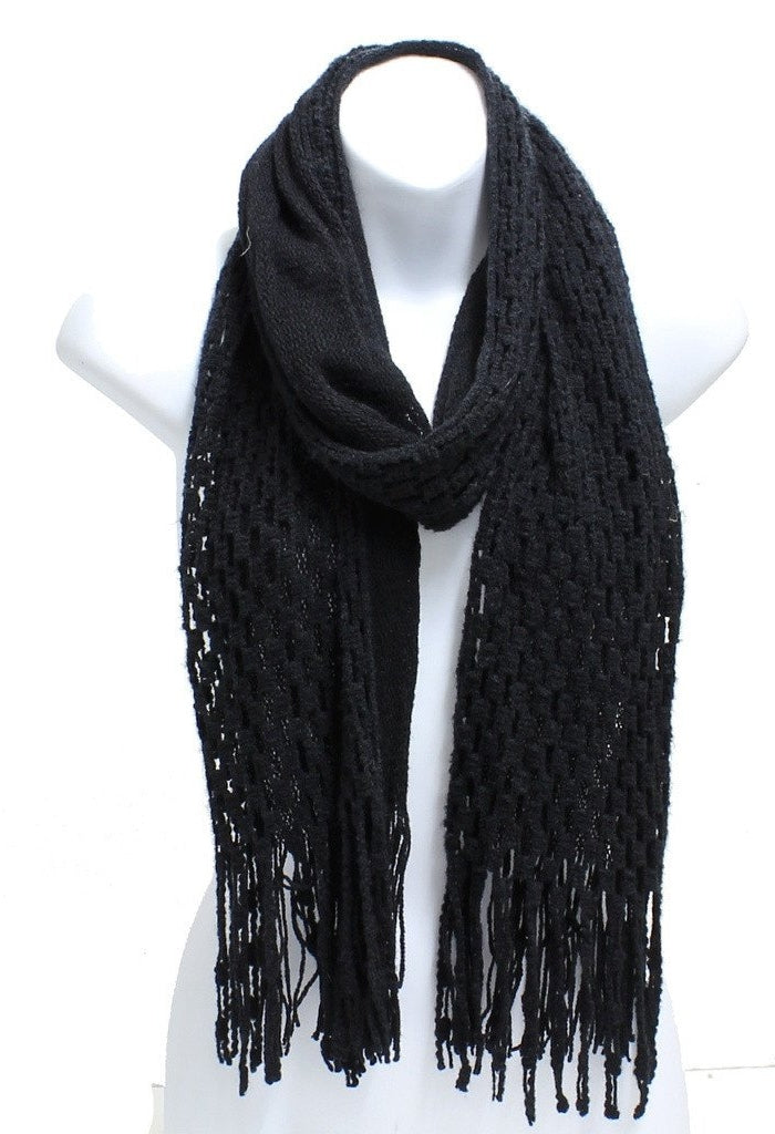 Winter Knit Checker Oblong Scarf Fringe