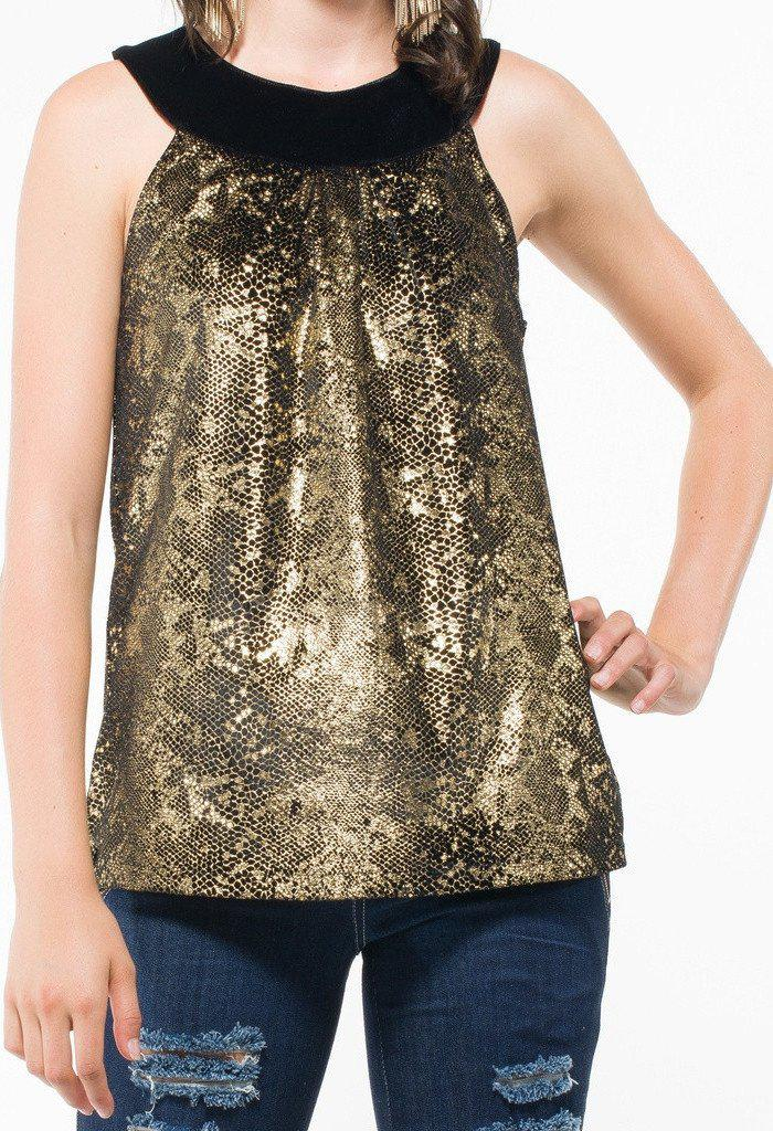 Women's Sleeveless Gold Top