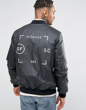Bomber Jacket In Waxed Cotton With Print