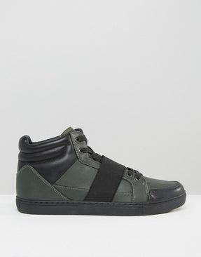 Trainers In Khaki With Black Elastic