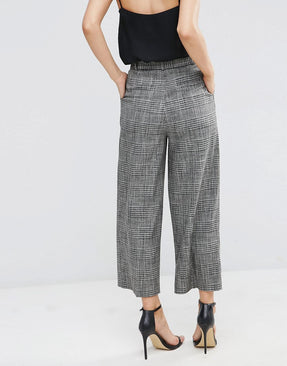 Relaxed Workwear Check Culotte Trousers