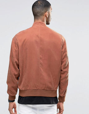 Tencel Bomber Jacket with Wash in Rust