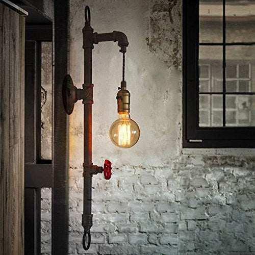 BAYCHEER Vintage Industrial Style Pipe Wall Lamp 1 Light - HL371036