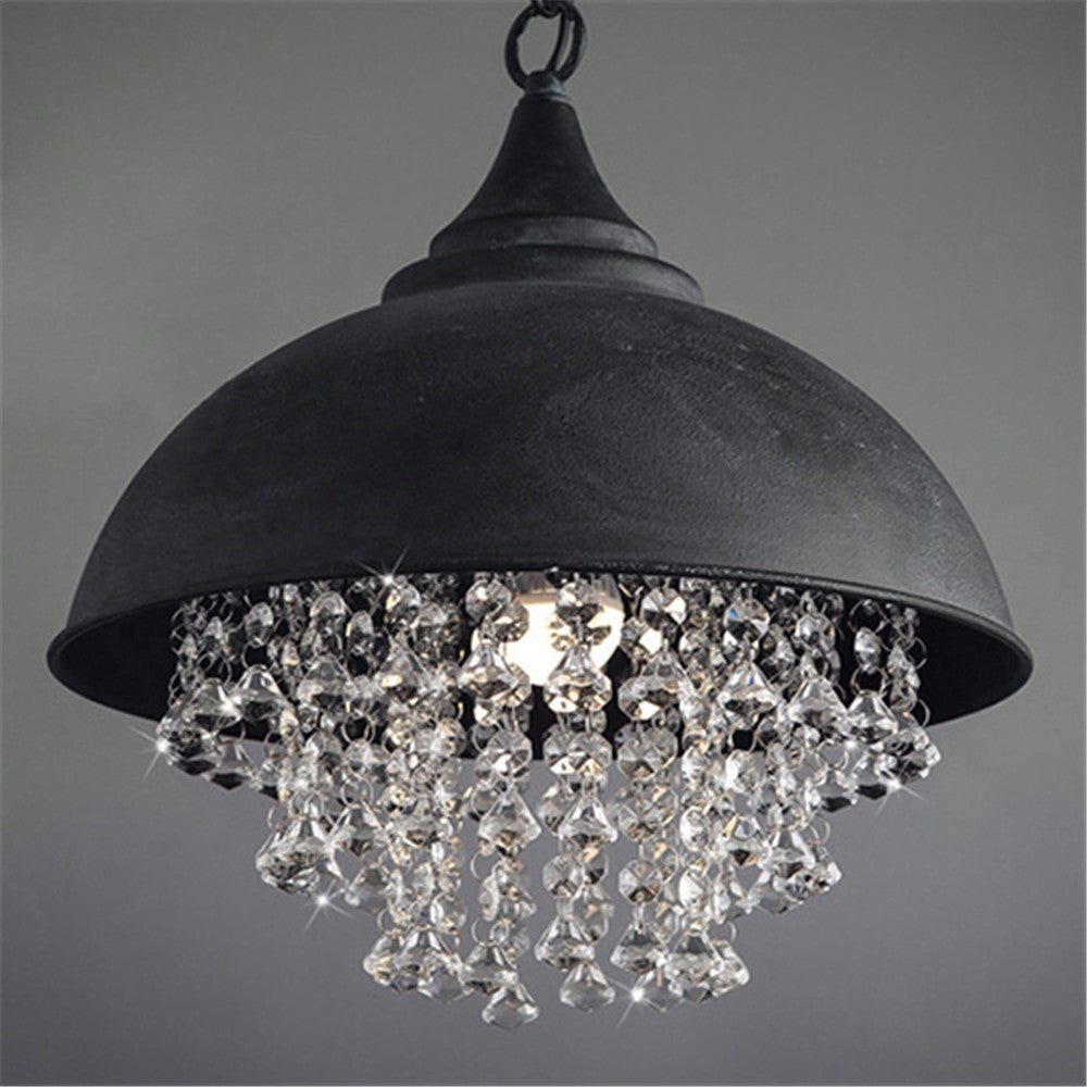 BAYCHEER Vintage style Iron Shaded Glittering Large Crystal lighting Beads Hanging Pendant Light Chandelier use E26 bulb with 1 light, Black - HL371927